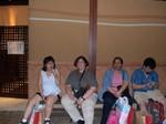 Nancy, Jan, Maria, Joseph outside restaurant at Tokyo Dome City