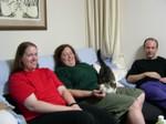 Mette, Cynthia, Neko, Tom at Yamaguchi's for dinner. (Kitty likes that)