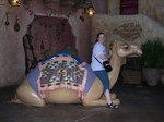 Mette riding a camel at Disney Sea.