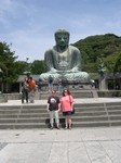 Mette and Cynthia in front of Amita-Buddha, Daibutsu